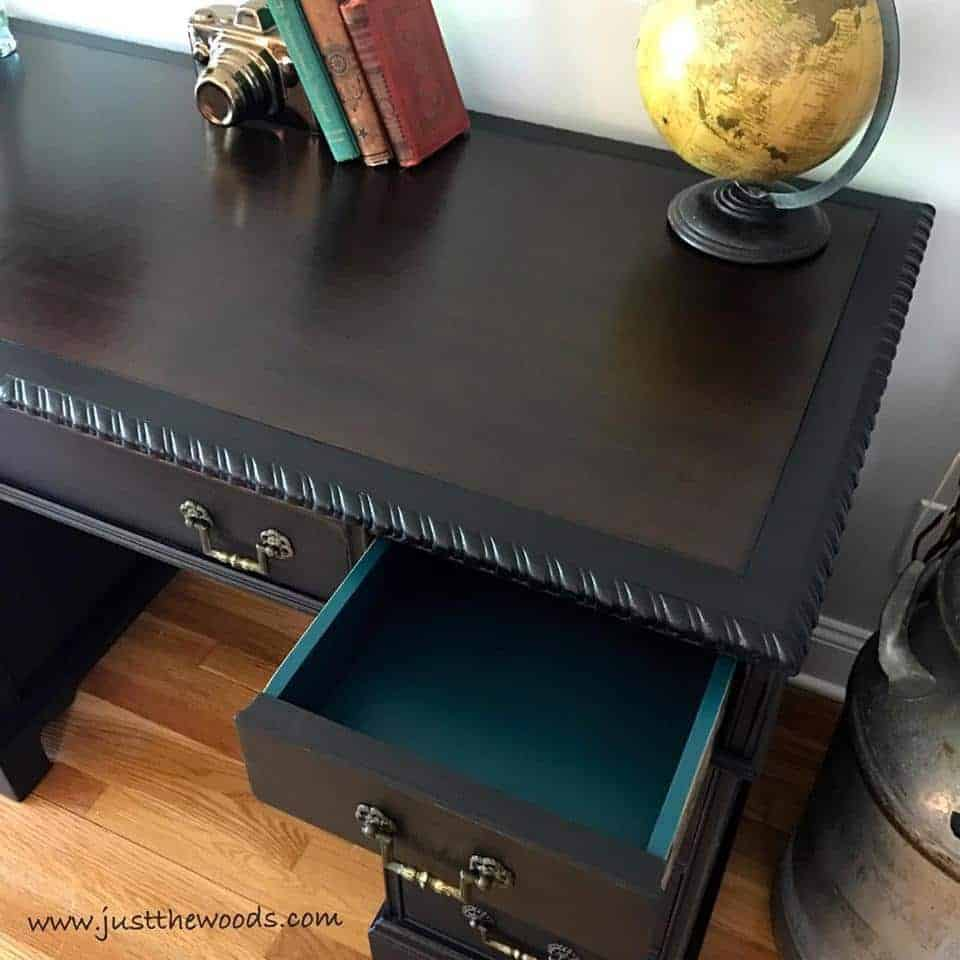 How to Save the Leather Top on a Vintage Desk / dark stain on vintage leather desk / non toxic paint / new york / shabby chic / painted furniture