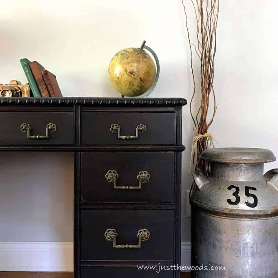 How to Save the Leather Top on a Vintage Desk / vintage milk jug / black painted desk / vintage desk