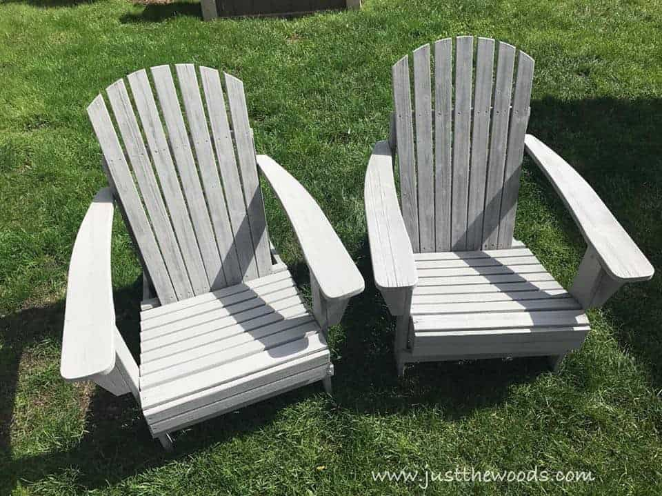Painting Outdoor Adirondack Chairs , painted chairs in yard, green grass, gray chairs