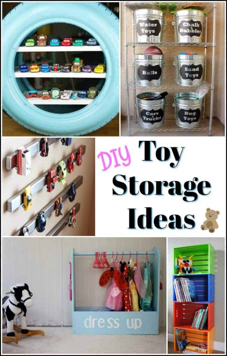 Toy storage comes in so many ways. Refinished toy boxes, dress up storage, lego mat, and many other creative DIY toy storage ideas to keep the abundance of toys under control. | kid toy storage | kids toy storage | kids toy organizer | childrens toy storage | children's toy organizer | storage for kids toys | kids toy bin | toy organizers | DIY toy organizer | DIY toy box ideas |storage solutions for toys | DIY kids toy storage ideas