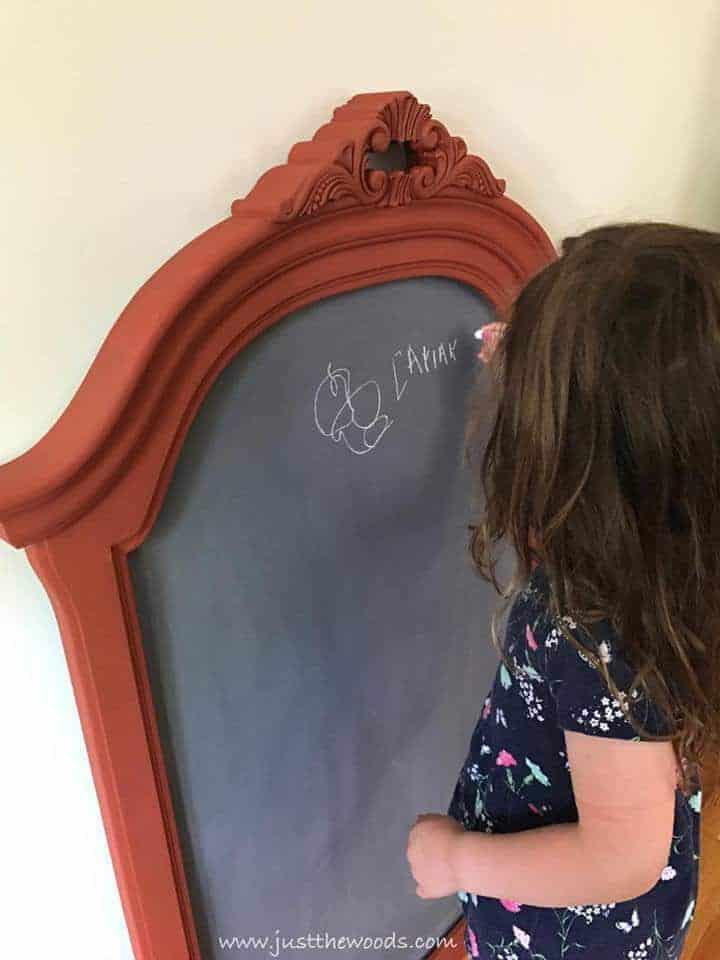 DIY chalkboard, easy diy, kids chalkboard, empty mirror frame
