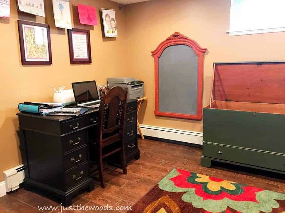 chalkboard from old frame, vintage desk, antique storage trunk to toy box, diy chalkboard with paprika frame