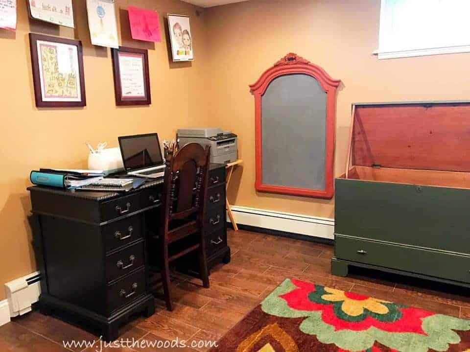 chalkboard from old frame, vintage desk, antique storage trunk to toy box, diy chalkboard with paprika frame