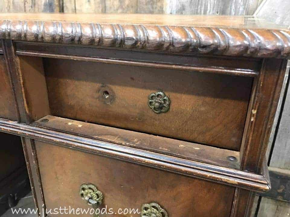 How to Save the Leather Top on a Vintage Desk / vintage desk / no drawer stoppers / drawers push in too far / vintage furniture