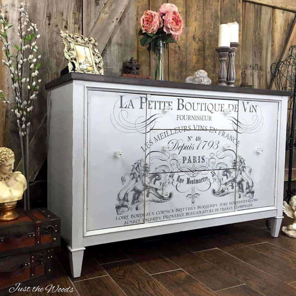 image transfer ideas, french image on painted buffet, la petit boutique de vin, iod transfers, painted furniture