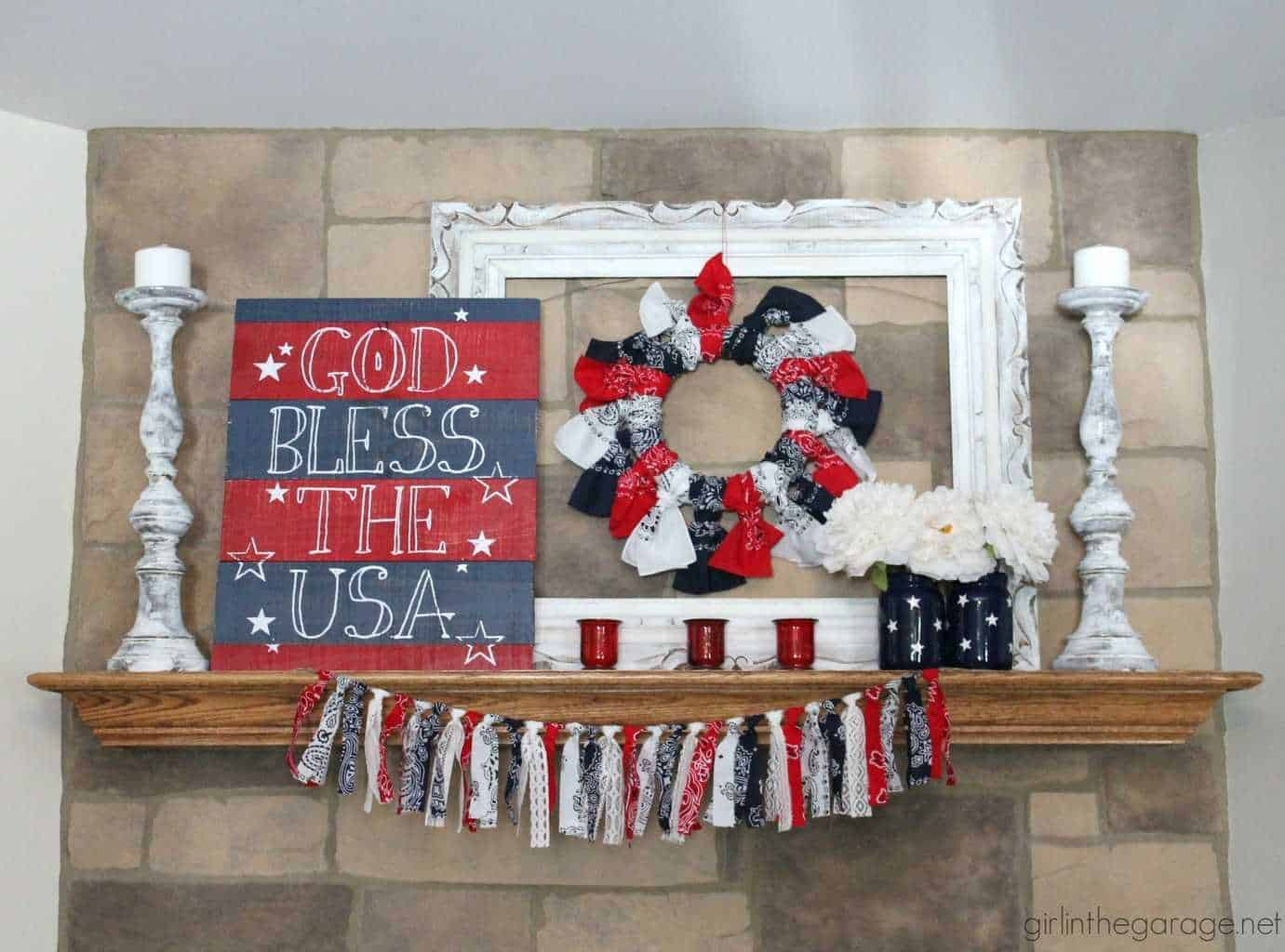 Easy DIY Patriotic Decor for the 4th of July, red, white and blue candles, pallet flag, mason jar projects, patriotic door decor, USA sign, mantel decor