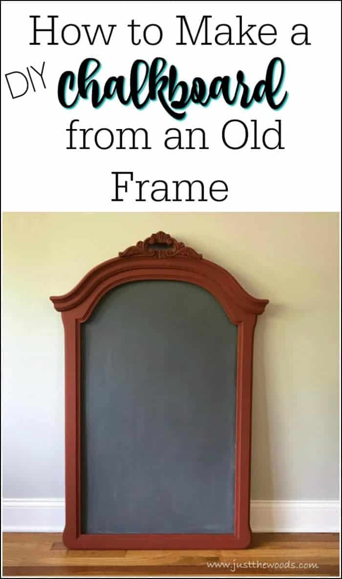 How to Make a DIY Chalkboard from an Empty Frame / Just the Woods