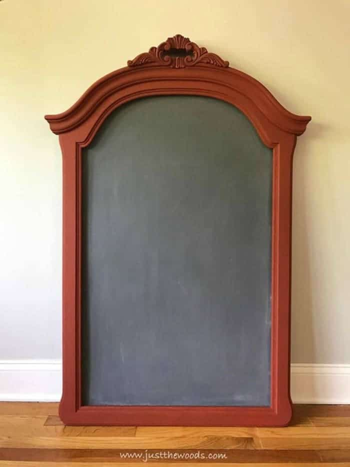 DIY chalkboard from empty mirror frame, ornate frame painted brick orange