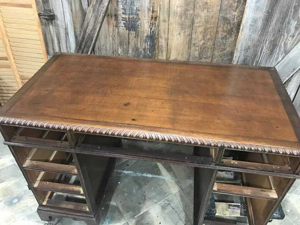 How to Save the Leather Top on a Vintage Desk / leather desktop stained with kristi kuehl pure home paint