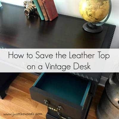 How to save the leather top on a vintage desk or any vintage furniture. Preserve that original leather and hide imperfections with a protective stain.