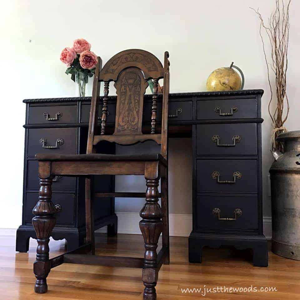 How to Save the Leather Top on a Vintage Desk / vintage painted furniture / staten island / just the woods / vintage desk