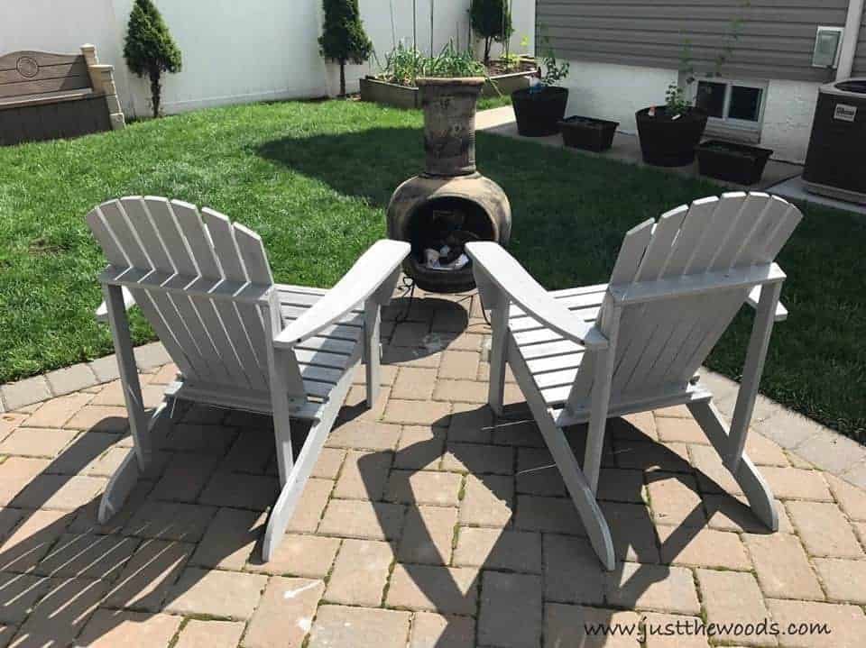 Painting backyard Adirondack Chairs with HomeRight Finish Max Extra, outdoor chairs, gray painted chairs