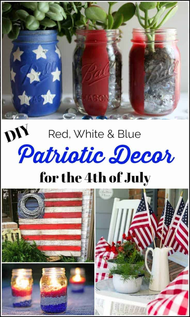 Easy DIY Patriotic Decor for the 4th of July, Easy DIY Patriotic Decor for the 4th of July, red, white and blue candles, pallet flag, mason jar projects, patriotic door decor, USA sign, mantel decor, porch decor
