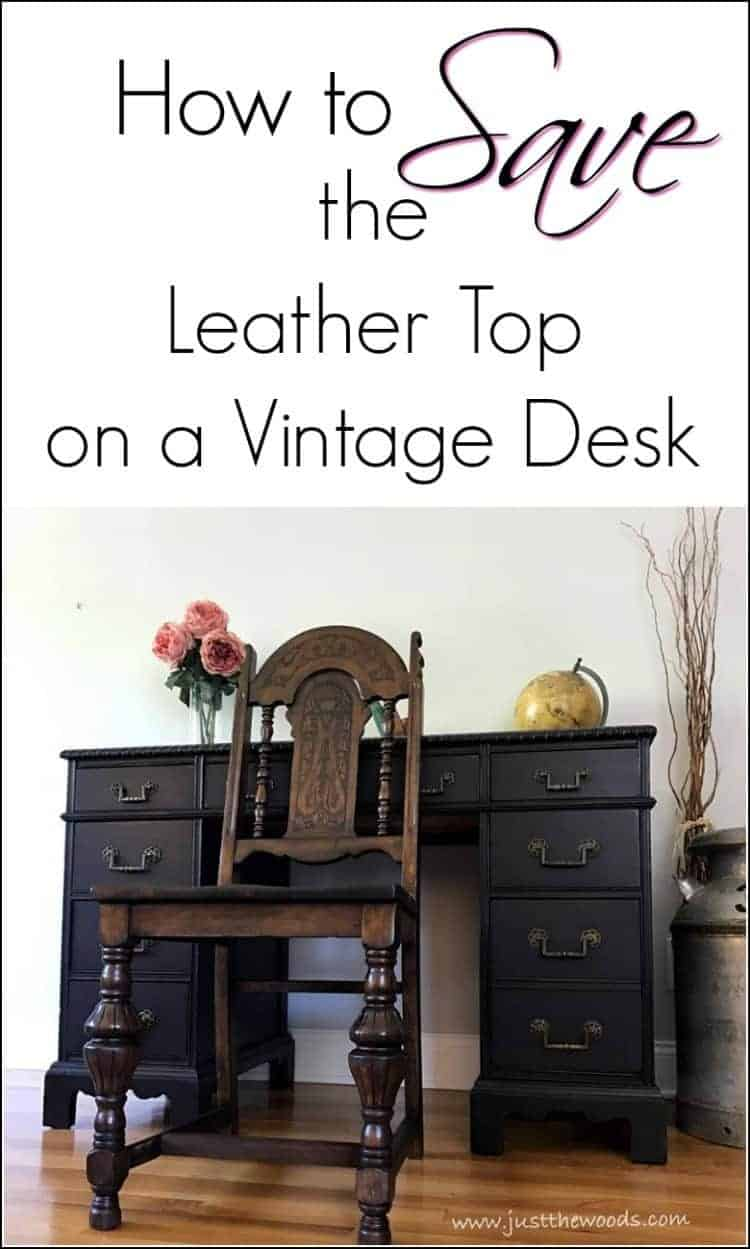 Save the Leather Top, antique leather inlay desk, vintage desk with damaged leather top, save leather with stain, black painted desk