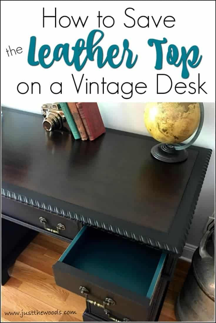 How to save the leather top on a vintage desk or any vintage furniture. Preserve that original leather and hide imperfections with a protective stain. Yes, you can paint leather, in fact, you can even apply stain on leather top furniture. This painted desk is saved and the leather inlay preserved by cleaning the leather and then applying a dark stain for a beautiful finish.