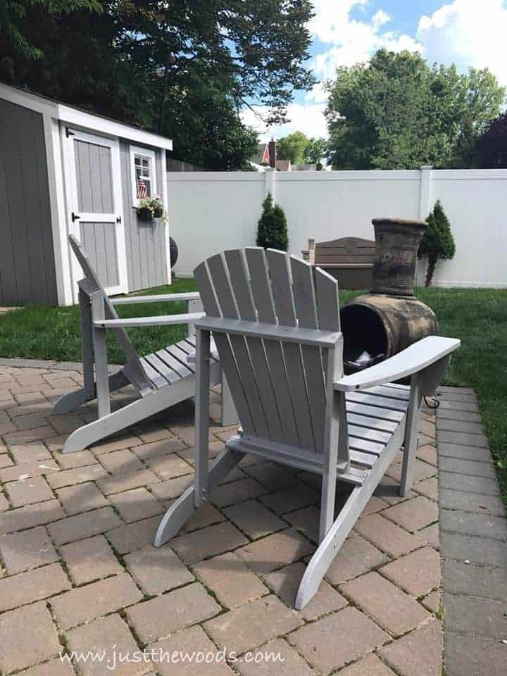 adirondack chairs painted gray, gray painted shed