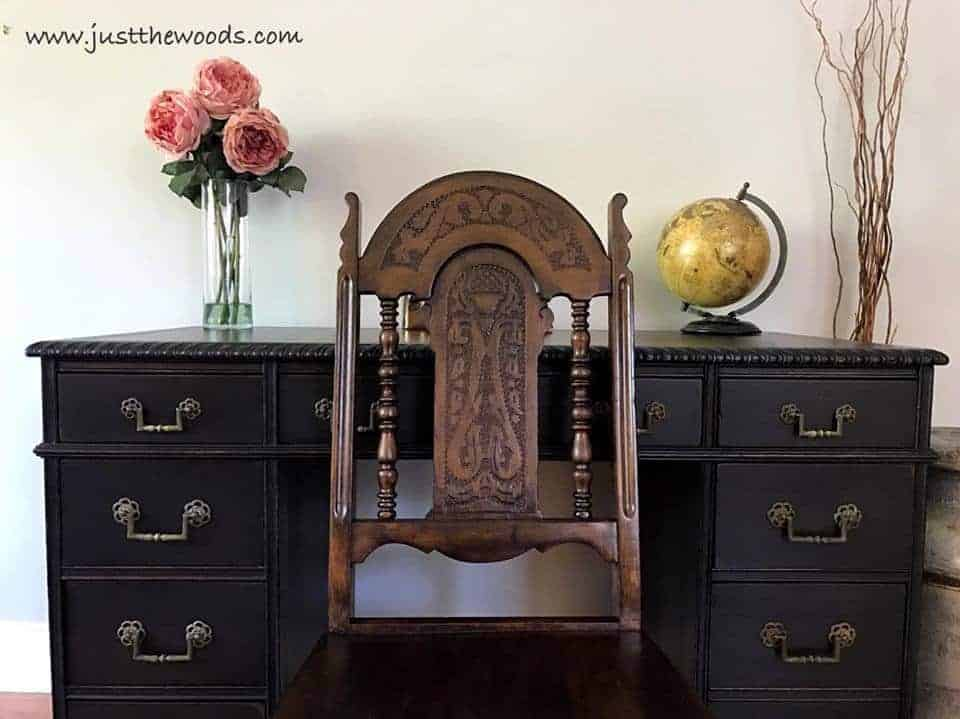 How to Save the Leather Top on a Vintage Desk / staten island painted furniture / painted desk /ornate chair / leather top desk