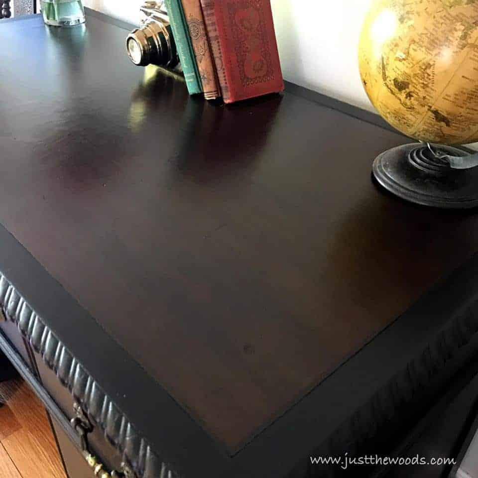 Leather Top on a Vintage Desk / black painted desk with dark stain on leather top