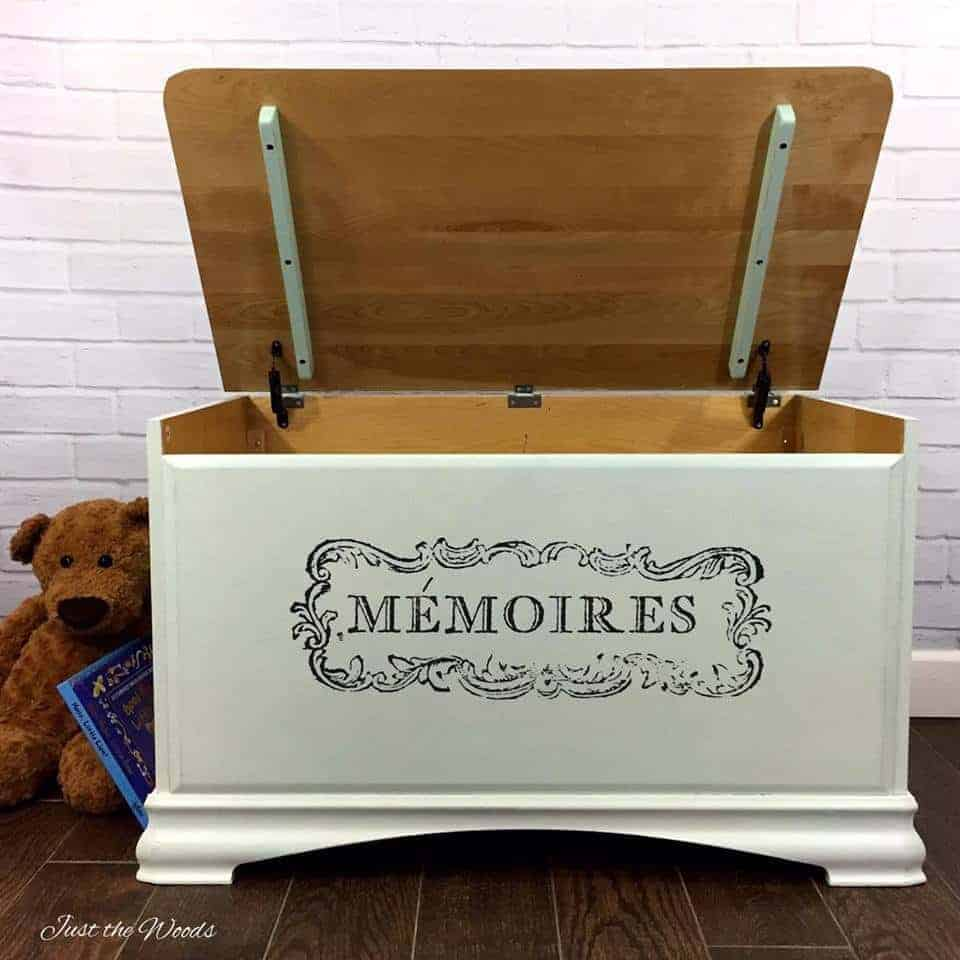 DIY Toy Storage Ideas, modern toy box with french image transfer, diy toy box ideas, kids toy storage ideas,