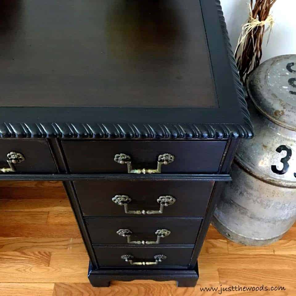 How to Save the Leather Top on a Vintage Desk / black paint with stained leather