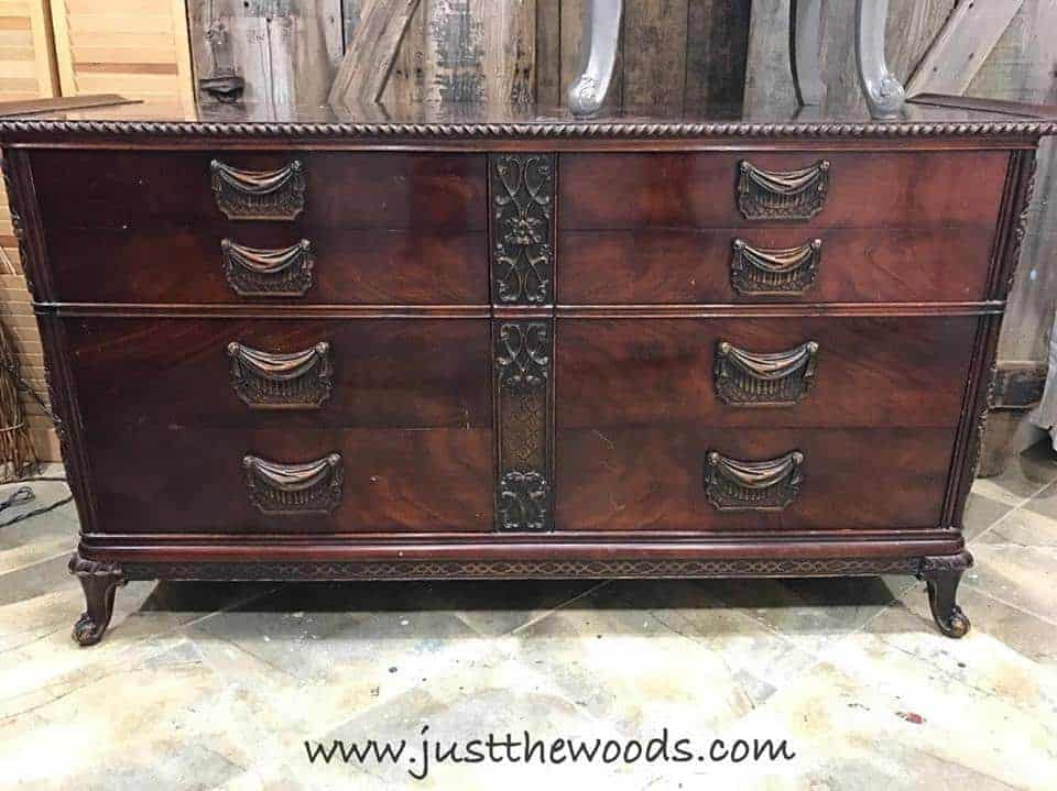 How to Glaze Furniture for an Old World Finish by Just the Woods / vintage mahogany dressers / painted gray / black glaze