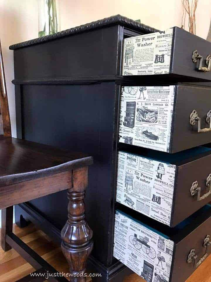 How to Save the Leather Top on a Vintage Desk / decoupage on drawer sides / vintage newspaper print on outer sides of drawers on black painted desk