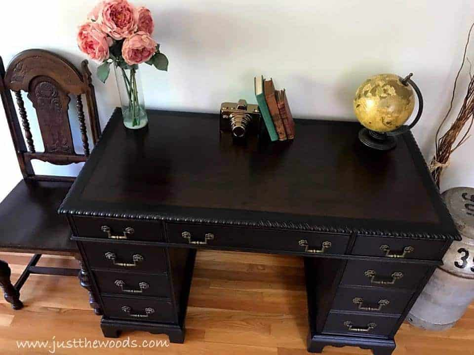 How to Save the Leather Top on a Vintage Desk / dark espresso stain on leather top desk / black painted desk with leather top / jacobean chairs