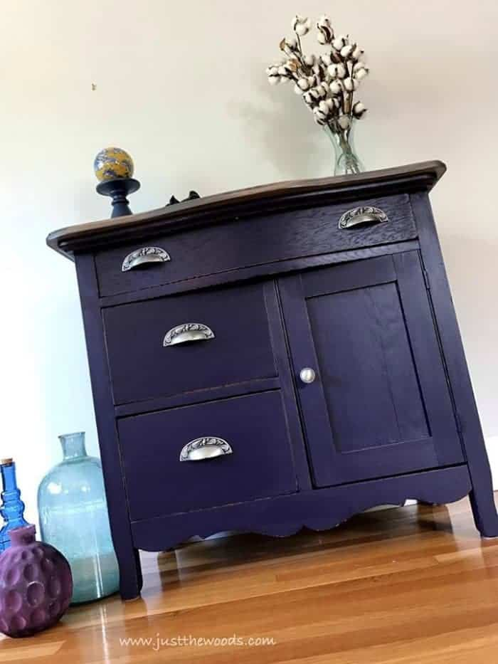 eggplant painted furniture, vintage washstand, painting furniture, sticking drawers