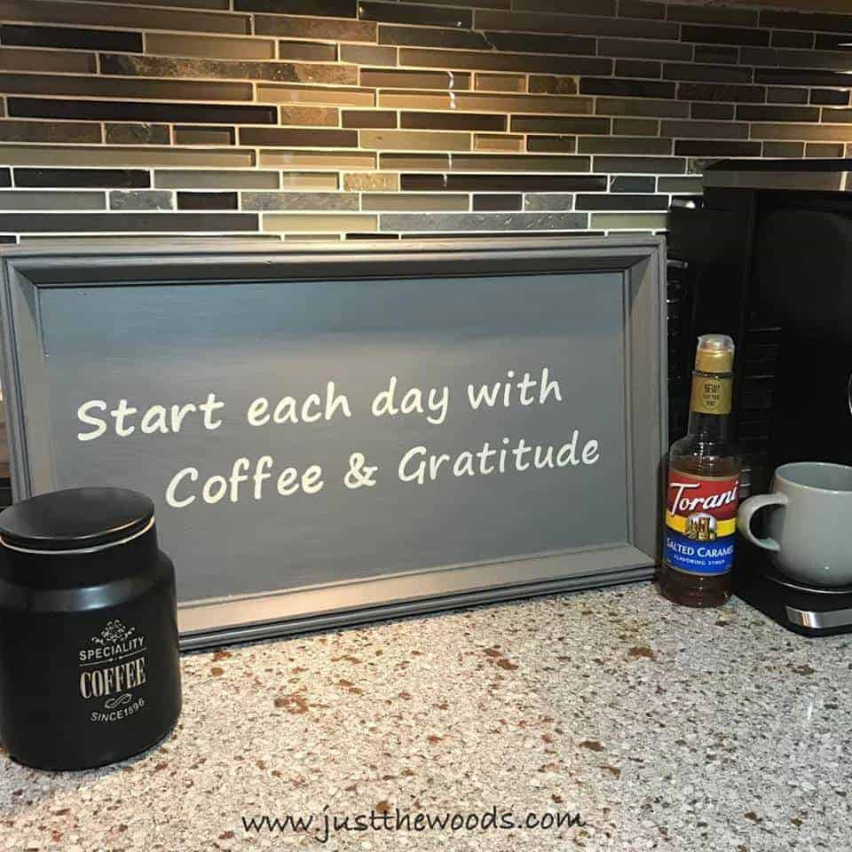 How to Make a Coffee Bar Sign from a Thrift Store Find, coffee station, coffee and gratitude