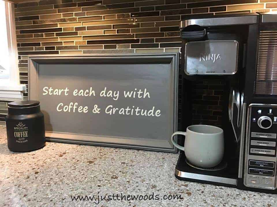 How to Make a Coffee Bar Sign from a Thrift Store Find / Just the Woods, coffee and gratitude, stencil, cricut