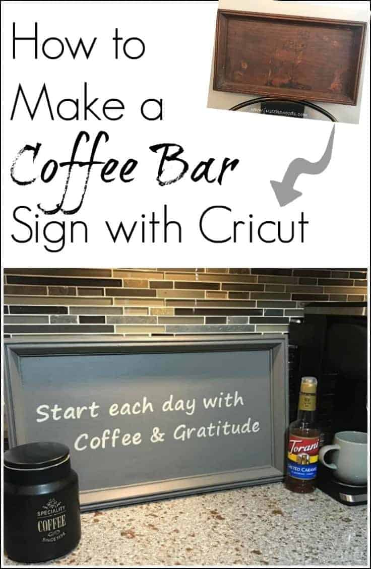 Transform a thrift store find into a useful coffee bar diy sign using the Cricut Explore Air. Make your own stencil and create a custom sign for your decor.