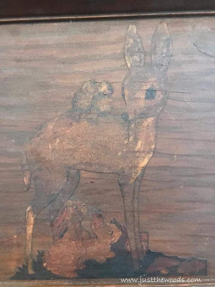 wooden sign, thrift store find, wooden deer