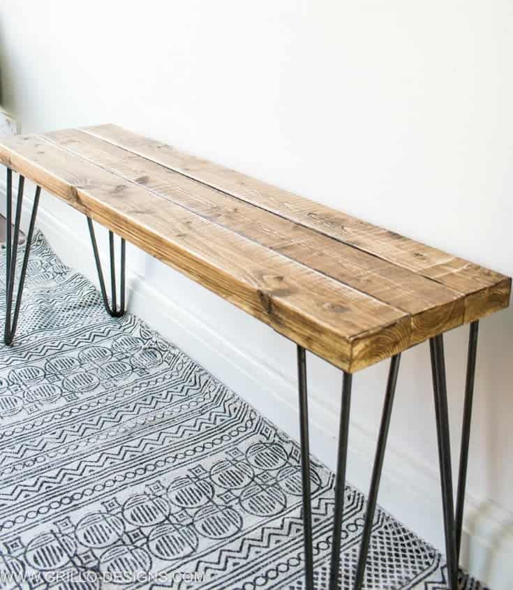 build a bench, plans to build a bench, hairpin bench, wooden seat bench, diy