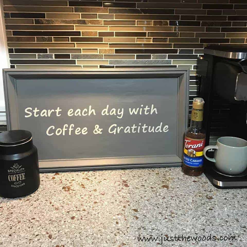 start each day with coffee and gratitude, coffee bar sign