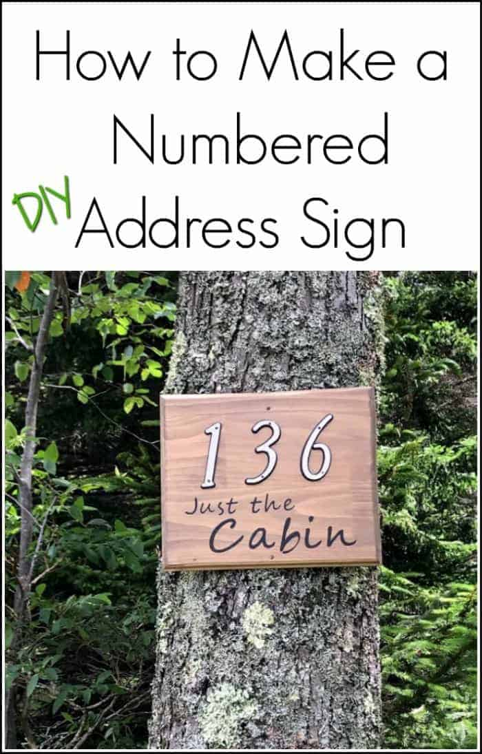 make a custom address sign with scrap wood, a DIY stencil, and stain. Use pre-made house numbers or stencil them yourself with this easy DIY project and Cricut. Rustic address plaque, home sign, number sign, house number sign.