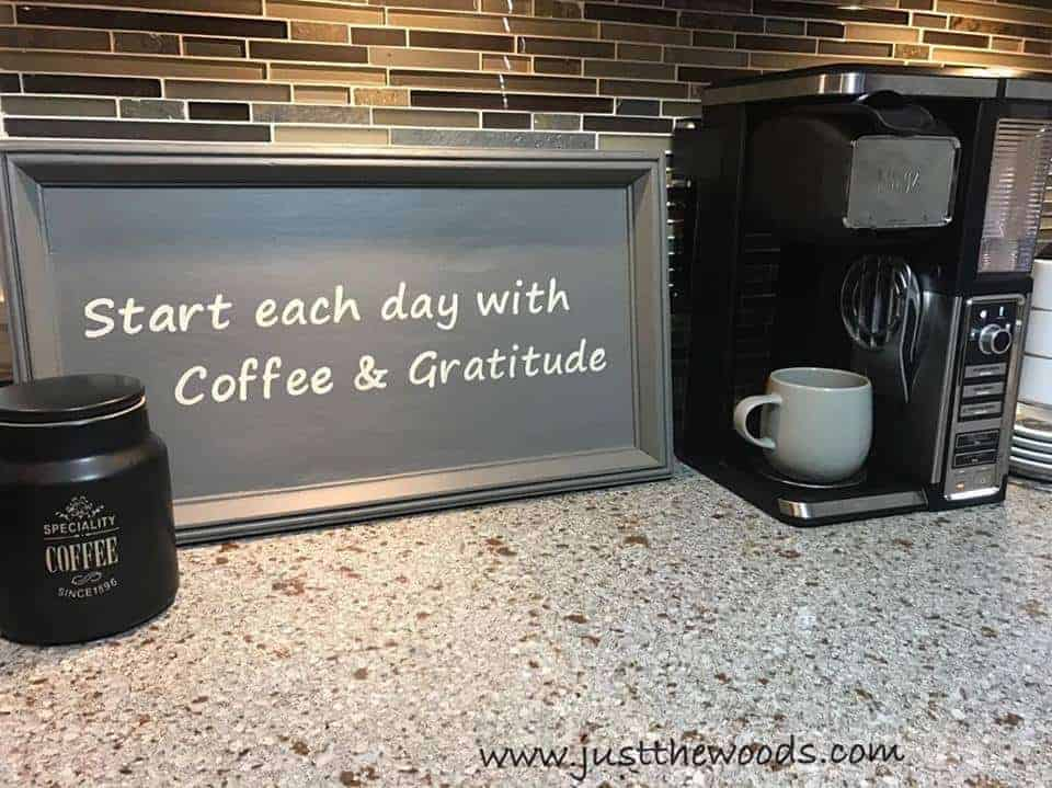 ninja coffee bar, coffee bar sign, coffee and gratitude, cricut machine projects