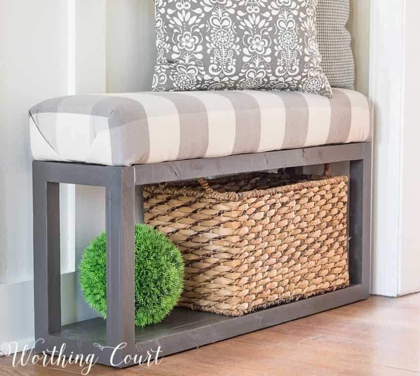 build farmhouse bench, upholster bench, how to build
