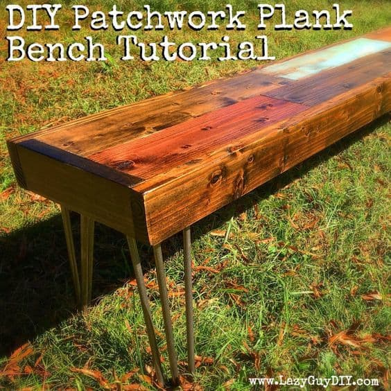 lazy guy diy, hairpin legs, build a bench, plank bench, tutorial