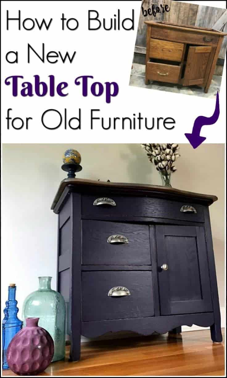 Some painted furniture makeovers need more than paint. Learn how to create a template, cut out a new table top and add a decorative edge when your old furniture needs a new top. Build your own table top tutorial #purplepaintedfurniture #purplefurniture