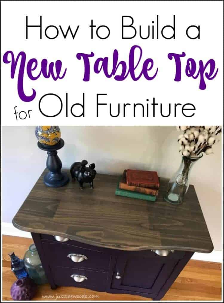 Build a New Table Top for a table, eggplant cabinet, painted furniture, weathered gray wood stain top