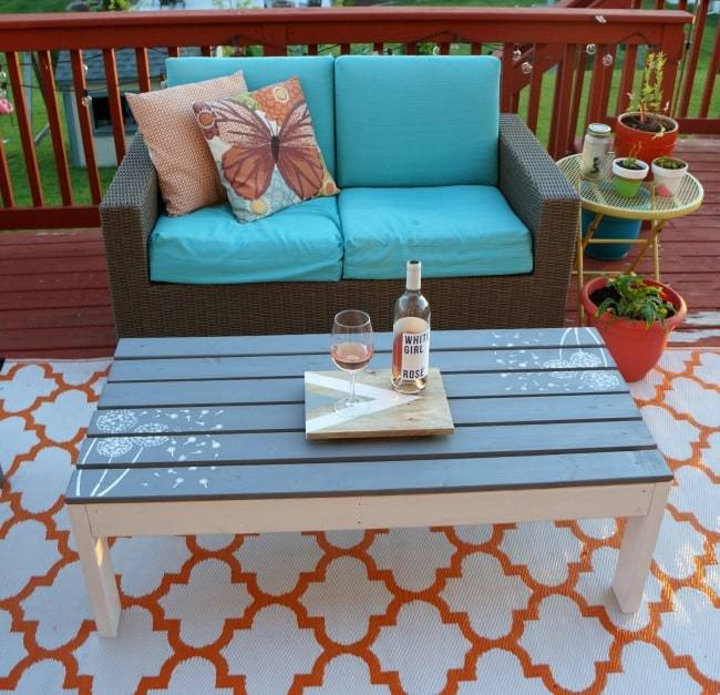 outdoor coffee table, how to make a table, painted and stenciled table