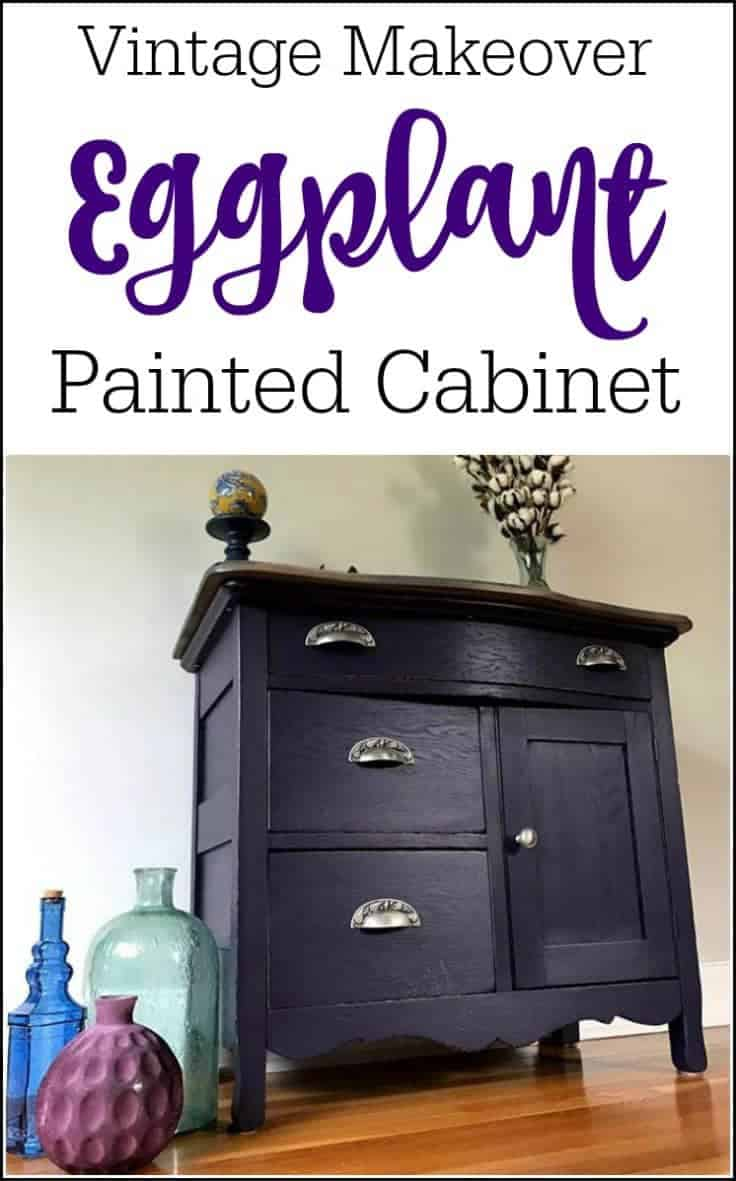 Vintage Eggplant Painted Cabinet, Painting Furniture and How to Prevent Sticking Drawers