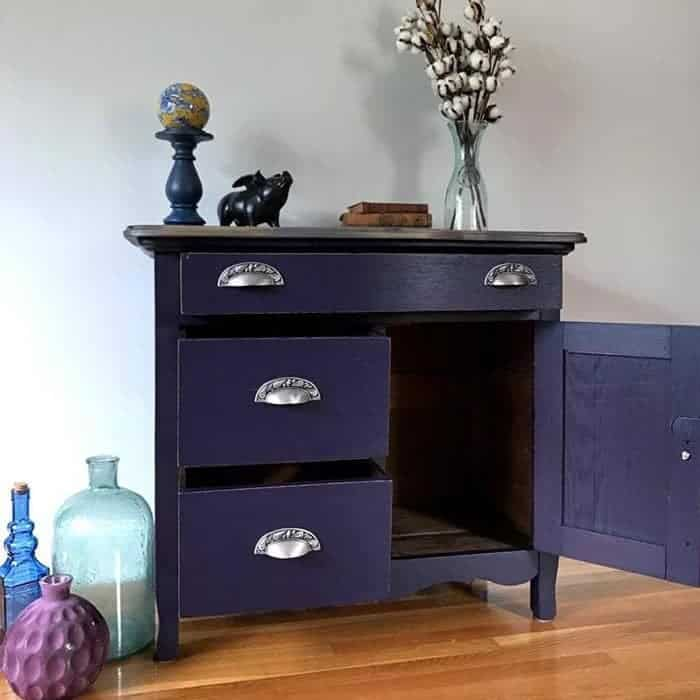 painted eggplant washstand, vintage furniture