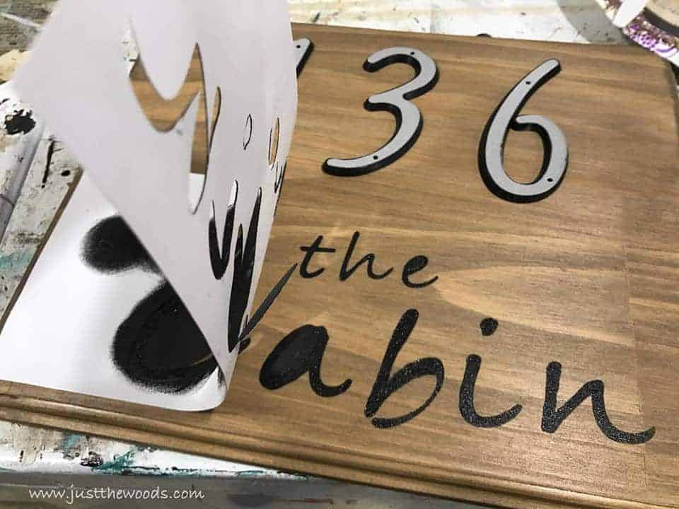 remove stencil, See how to make a custom address sign with scrap wood, a DIY stencil, and stain. Use pre-made house numbers or stencil them yourself with this easy DIY project and Cricut. Rustic address plaque, home sign, number sign, house number sign.