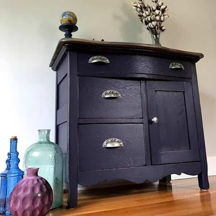How to Build a New Table Top for Old Furniture , eggplant purple painted furniture