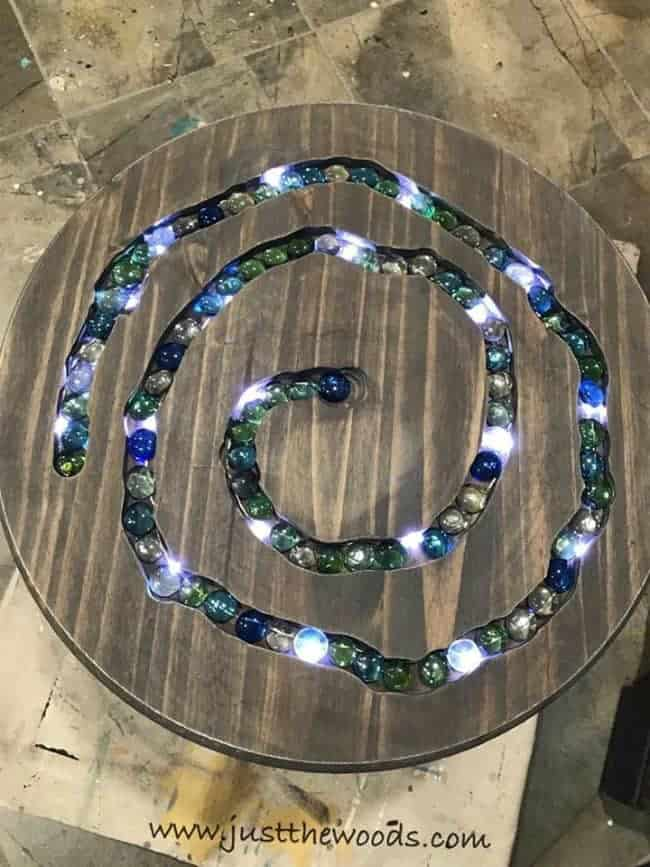 mosaic table, mosaic gems, glass gems, led lights, diy table