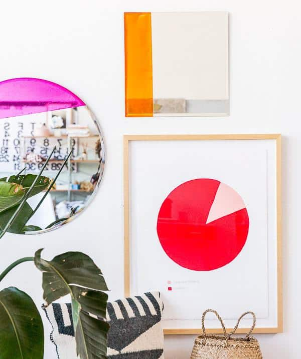 colorblock, painted mirror, colorblocked mirror, diy, colorful mirrors