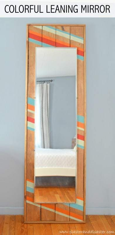 colorful leaning mirror, modern mirror, diy