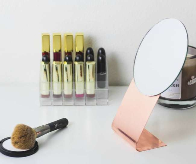 easy diy mirror, copper mirror, table mirror, vanity mirror