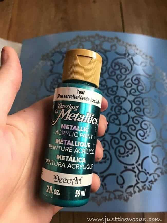deco art paint, metallic paint, teal paint